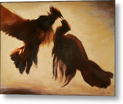 Cock Fight Metal Print by James LeGros