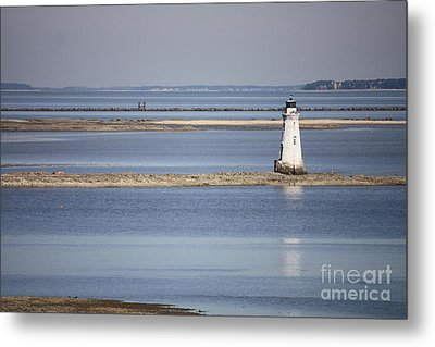 Cockspur Island Lighthouse With Jetty Metal Print by Carol Groenen