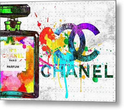 Coco Chanel No. 5 Grunge Metal Print