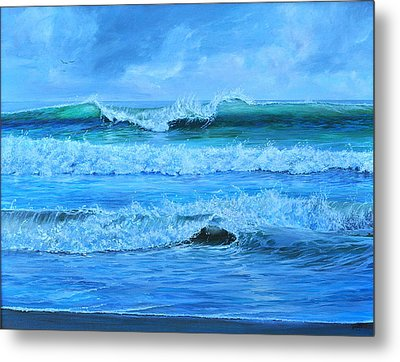 Metal Print featuring the painting Cocoa Beach Surf by AnnaJo Vahle