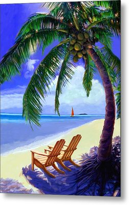 Metal Print featuring the painting Coconut Palm by David  Van Hulst