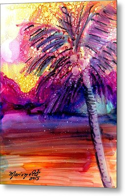 Metal Print featuring the painting Coconut Palm Tree 2 by Marionette Taboniar