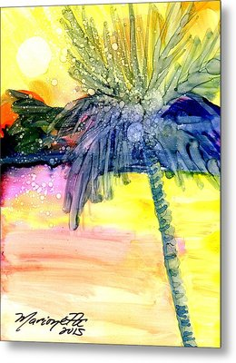 Metal Print featuring the painting Coconut Palm Tree 3 by Marionette Taboniar