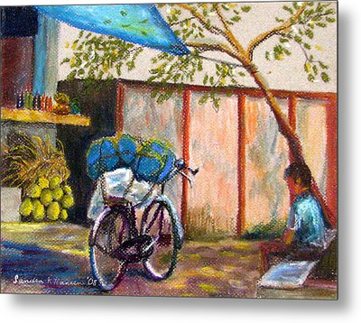 Coconut Stand Metal Print