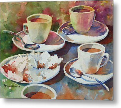 Coffee And Beignets Metal Print by Sue Zimmermann