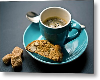 Coffee And Biscotti Metal Print by Happy Home Artistry