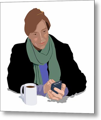 Coffee And Cellphone Metal Print by Robert Bissett