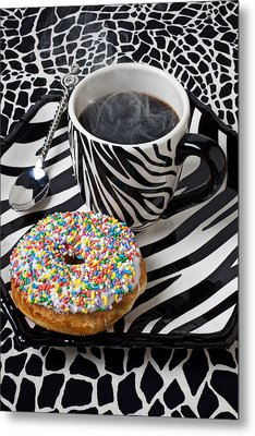 Coffee And Donut On Striped Plate Metal Print by Garry Gay