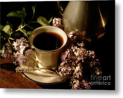 Coffee And Lilacs In The Morning Metal Print by Lois Bryan