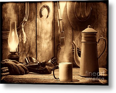 Coffee At The Cabin Metal Print by American West Legend By Olivier Le Queinec