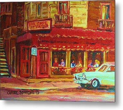 Coffee Bar On The Corner Metal Print by Carole Spandau