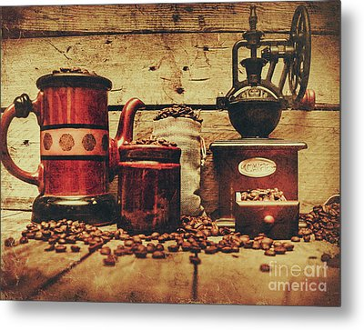 Coffee Bean Grinder Beside Old Pot Metal Print