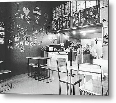 Coffee Cafe Black And White Metal Print