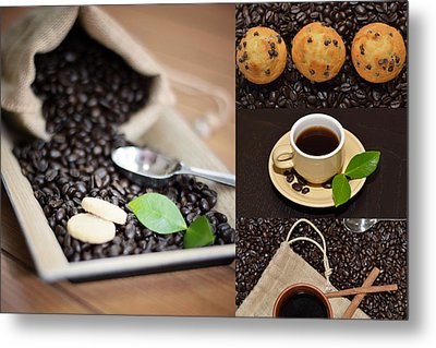 Coffee Collage Photo Metal Print by Serena King