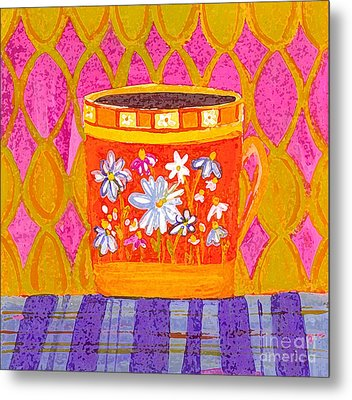 Coffee Cup - Floral Eclectic Design - Funky Colors Illustration Metal Print