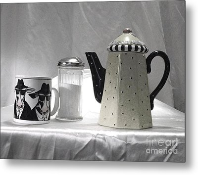 Metal Print featuring the photograph Coffee In Black And White by Donna Dixon