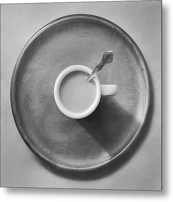 Coffee On A Wooden Tray Metal Print