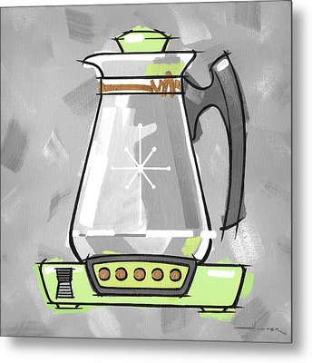 Coffee Pot Lime Metal Print by Larry Hunter