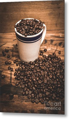 Coffee Shop Cup And Beans Metal Print by Jorgo Photography - Wall Art Gallery