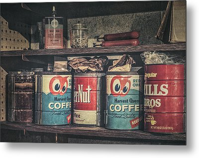 Coffee Tins All In A Row Metal Print by Scott Norris