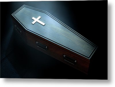 Coffin And Crucifix Metal Print