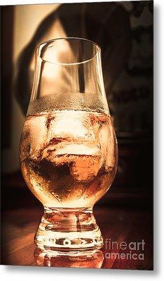 Cognac Glass On Bar Counter Metal Print