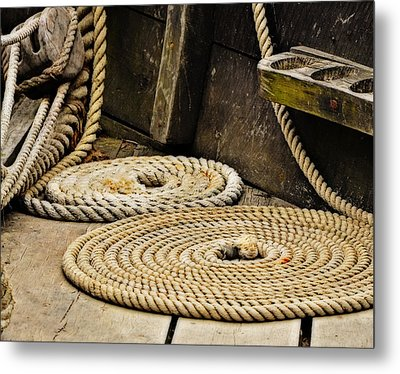 Coiled Rope From Philadelphia II Gunboat Metal Print