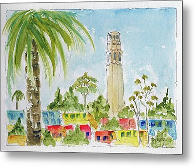 Metal Print featuring the painting Coit Tower by Pat Katz