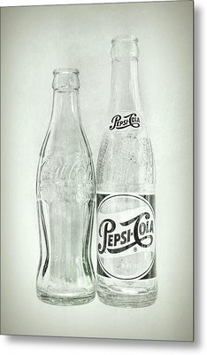 Coke Or Pepsi Black And White Metal Print by Terry DeLuco