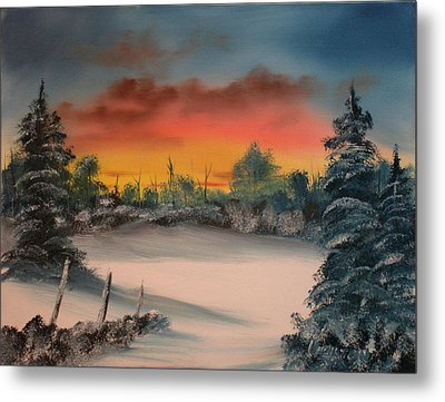 Cold Morning Sunrise Metal Print by Larry Hamilton