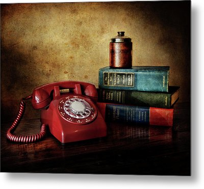 Cold War Red Telephone Metal Print