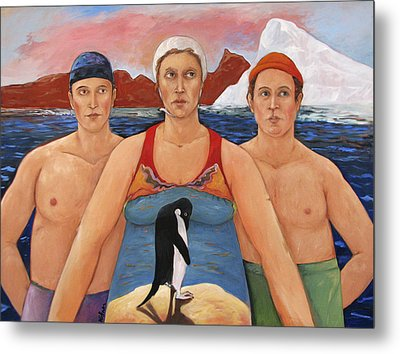 Cold Water Swimmers Metal Print by Paula Wittner