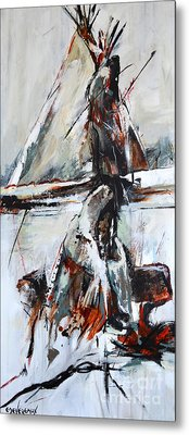 Metal Print featuring the painting Cold Winter Day by Cher Devereaux