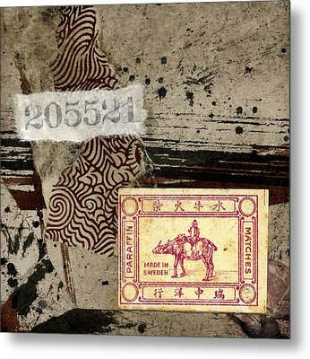 Collage Envelope Detail Monkey Water Buffalo Metal Print by Carol Leigh
