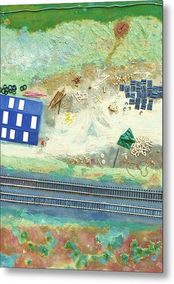 Railroad Yard With Shed From A Hot Air Balloon Metal Print by Nigel Radcliffe