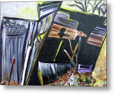 Collapsing Barn Metal Print