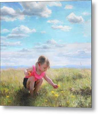 Collecting Dandelions Metal Print by Anna Rose Bain