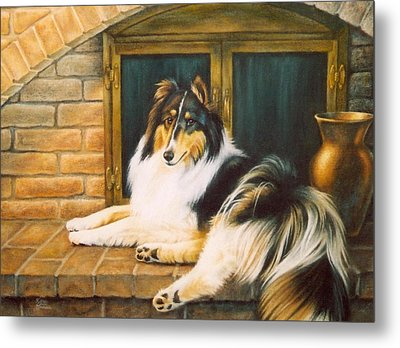 Collie On The Hearth Metal Print