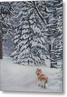 Collie Sable Christmas Tree Metal Print