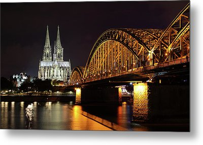 Cologne Cathedral And Bridge Metal Print by Holger Ostwald