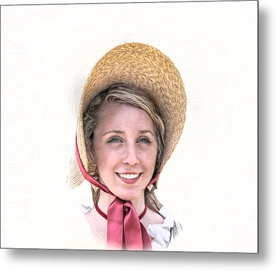 Colonial Girl With Hat Metal Print by Randy Steele