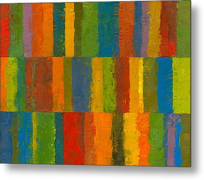 Metal Print featuring the painting Color Collage With Stripes by Michelle Calkins