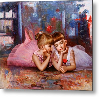 Color Of Melody -two Young Ballerina Metal Print