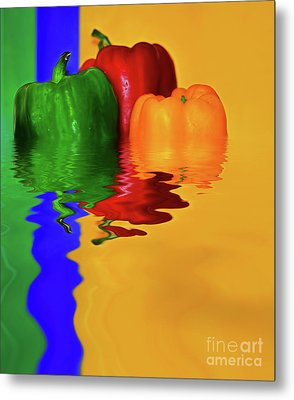 Metal Print featuring the photograph Color Pop Peppers By Kaye Menner by Kaye Menner