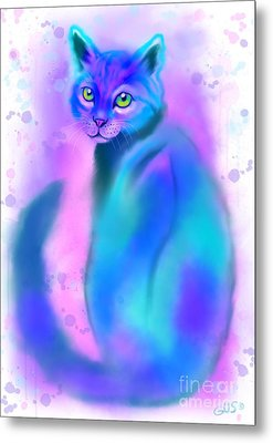 Metal Print featuring the painting Color Wash Cat by Nick Gustafson