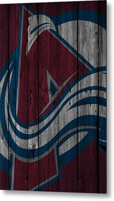 Colorado Avalanche Wood Fence Metal Print