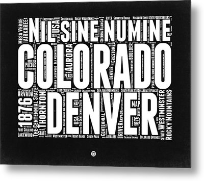 Colorado Black And White Word Cloud Map Metal Print by Naxart Studio