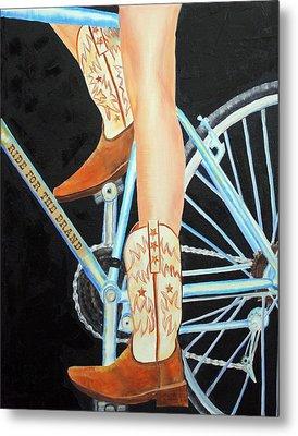 Metal Print featuring the painting Colorado Cyclist by Jennifer Godshalk