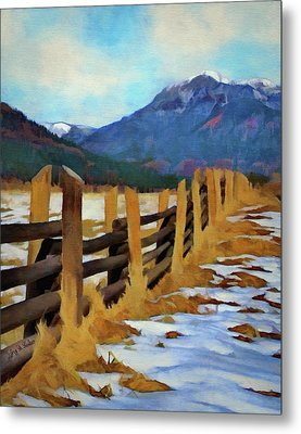 Metal Print featuring the painting Colorado Fence Line  by Jeff Kolker