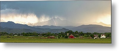 Metal Print featuring the photograph Colorado Front Range Lightning And Rain Panorama View by James BO Insogna